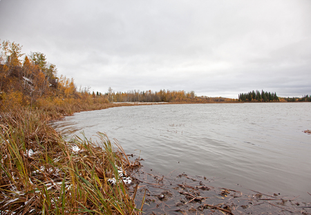 a still pond or lake at Elk Island Park in Alberta