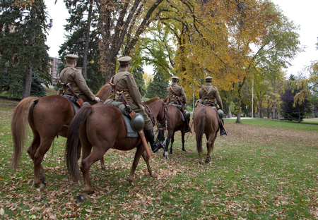 On October 6, 2017: Lord Strathconas Mounted horse troop rides on display in Edmontons legislature park Editorial
