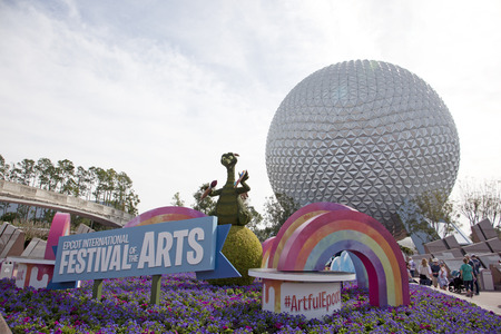 Orlando, Florida- February 5, 2018: The famous Epcot Festival of the Arts at the entrace to Epcot in Disneyworld