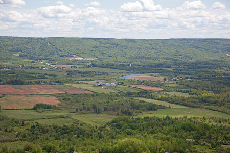 Looking down to the Bridgetown section of the beautiful Annapolis Valley in Nova Scotia, Canada, with the Annapolis River wandering through