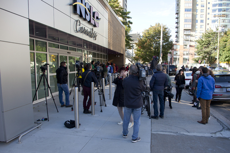 October 17, 2018: Halifax, Nova Scotia: Media prepare outside the Clyde Street NSLC on the morning the cannabis becomes legal in Canada