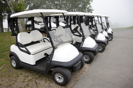 A line of electric golf carts are ready to go out on the green.