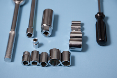 Close up view of sockets on a blue background