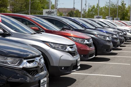 Dartmouth, Nova Scotia, Canada- June 15, 2019: Close view of a row of the SUV Honda CRVs at a dealership in Dartmouth Editorial