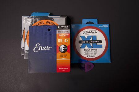 Halifax, Nova Scotia, Canada- June 16, 2019: Daddario and Elixir brand guitar strings