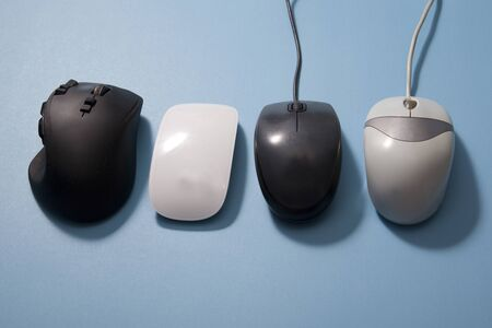horizontal collection of computer mouses