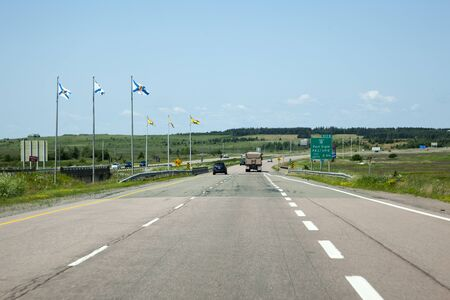 July 26, 2019: Amherst, Nova Scotia: The stretch of the 104 highway that joins with the New Brunswick border in Nova Scotia