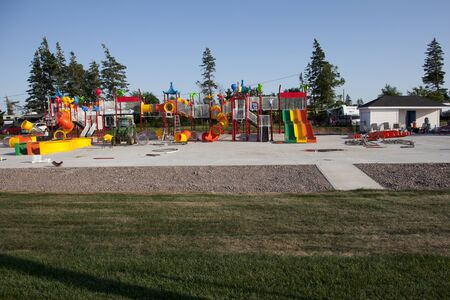 Cavendish, PEI: July 26, 2019- New plastic toys and rides for the water park that is being constructed at Marco Polo Family Campground