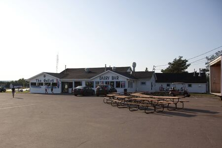 Cavendish, PEI - July 26, 2019: Exterior of the dining area and ice cream shop at Marco Polo family campground