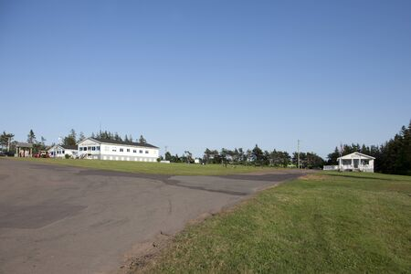 New Glasgow Cavendish, PEI- July 26, 2019: View across the summer lawn to the registration office and rec hall at Marco Polo Land