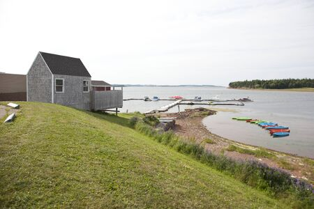Breadalbane, PEI- July 27, 2019: Wharf with kayaks and small boat rentals in Prince Edward Island