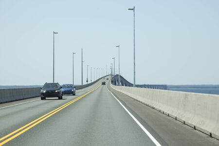 Confederation Bridge, PEI - July 28, 2019: The Confederation Bridge which allows traffic to go between New Brunswick and Prince Edward Island