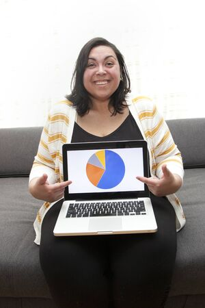 Woman working at home is happy showing off her business results or research insights from laptop