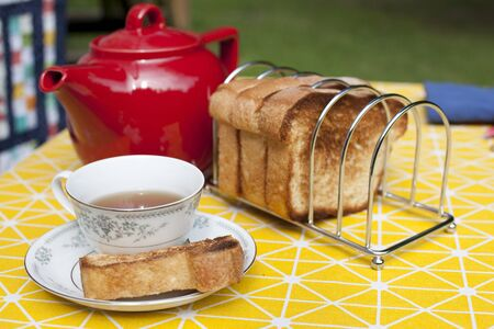Having a snack or tea time outside with a tea pot, cup saucer and toast
