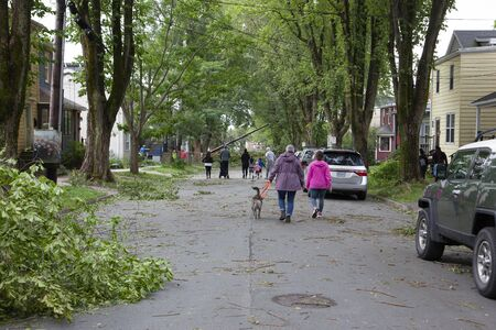 Halifax, Nova Scotia- September 8, 2019 - People walking to Kline Street in Halifax after Hurricane Dorian to look at damage