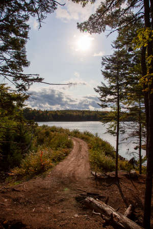 A dirt road emerges from the trees to a lake in the autumn