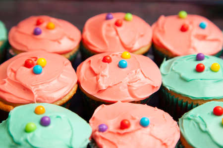 cupcakes with icing in colours of greenish blue and pink Zdjęcie Seryjne