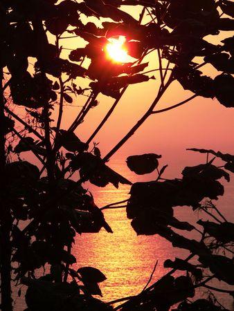 aura sun: Andaman Sea sunset, Myanmar, Asia.