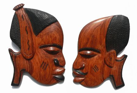 wood figurine: Female & Male African wood carvings Stock Photo