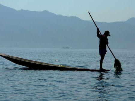 Lake Weed Farmer Inle Lake, Shan State, Myanmar (Burma) photo