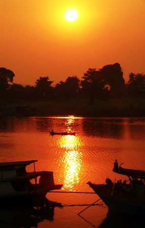 mekong: Hazy Irrawaddy River Sunset Myanmar (Burma)