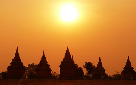 heritage site: Five Ruin Sunset. Bagan Archaeological Zone, Heritage Site. Myanmar (Burma)