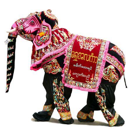 pantomima: Pantomime Elephant Festival Bagan Myanmar (Birmania)  Foto de archivo