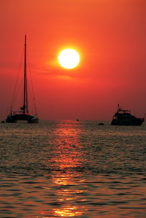 Boats at Sunset. Andaman Sea, Asia