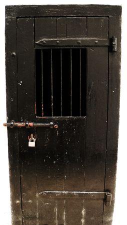 security shutters: Padlocked Wooden Cell Door, Borneo