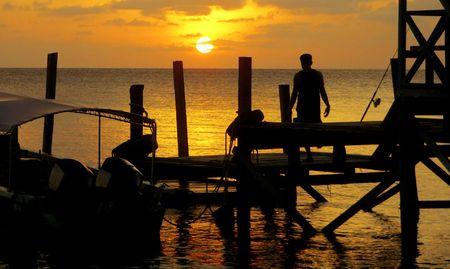 Jetty Fisherman Sunset Sulu Sea SE Asia (wide) photo