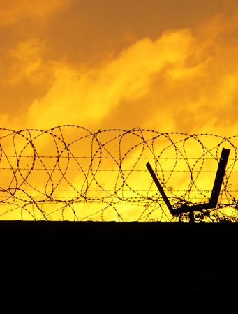keepout: Barbed Perimeter Fence 2of2 Stock Photo