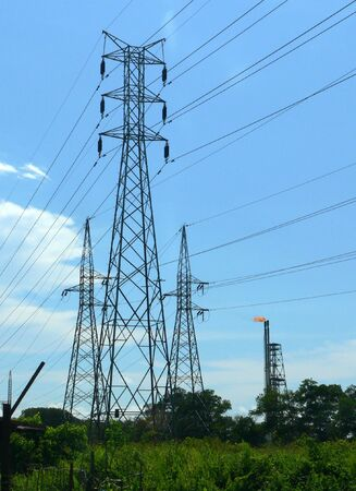 containment: Three Pylons Stock Photo