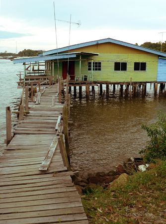kampung: Brunei. Downtown Bandar. Kampung Ayer typical home Stock Photo