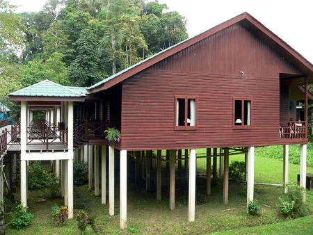 stilted: Borneo. Stilted House  Cabin Stock Photo