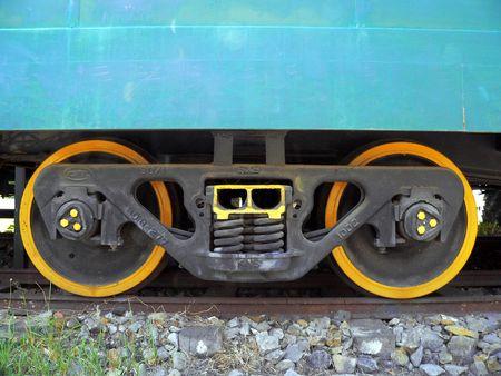 bogie: Borneo. Blue Train Wagon on Bogie Stock Photo