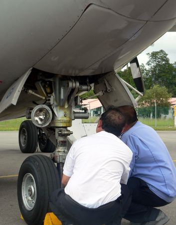 inspection: Malaysia. Aircraft Mechanic  Engineer Inspection 1of2 Stock Photo