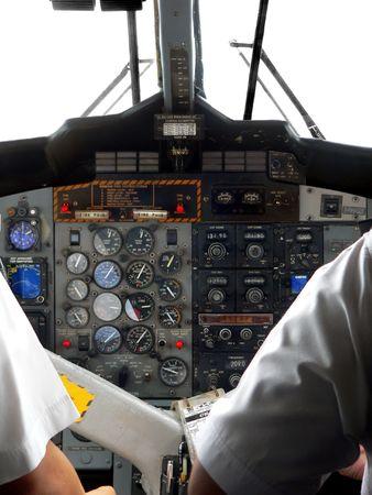 light aircraft: Malaysia. Cockpit Controls Stock Photo