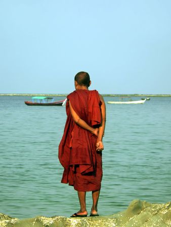 Burma (Myanmar) Monk Standing on Rock Stock Photo - 957513