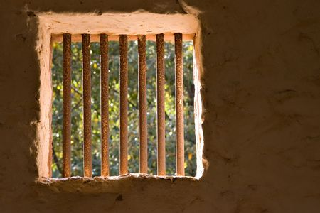 no way out: prison bars with trees and light outside
