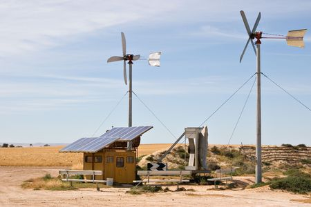 energy sources: homemade wind and solar energy sources at an alternative energy farm using recycled materials