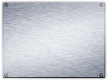beveled corners: a brushed steel metal plaque with screws in the corners and beveled edge