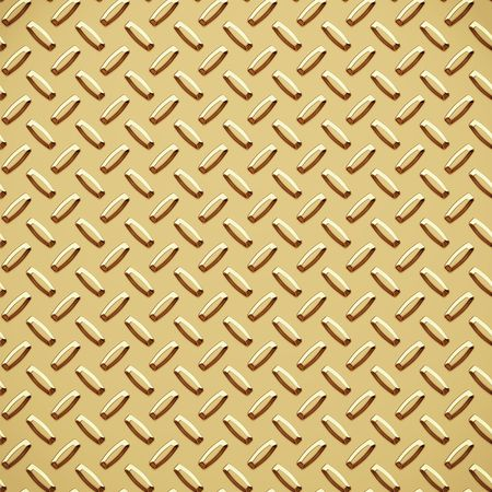 treadplate: a very large sheet of gold diamond or tread plate Stock Photo