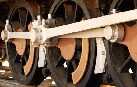 restored: close up of the wheels of a steam train Stock Photo