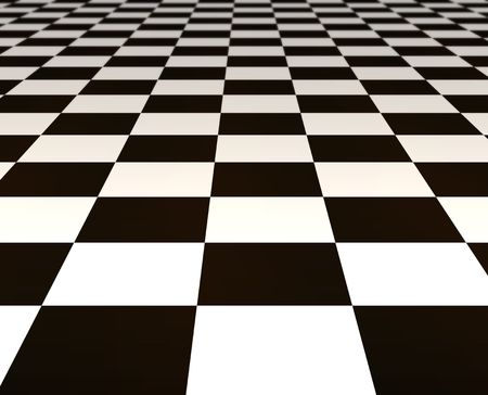 flooring: a large black and white checker floor background pattern Stock Photo