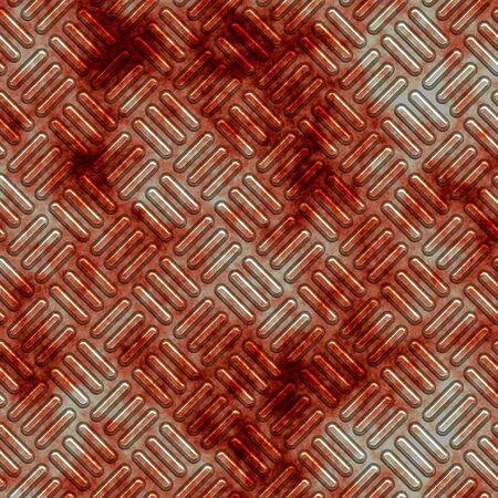 treadplate: a large sheet of diamond or tread plate covered in old blood Stock Photo
