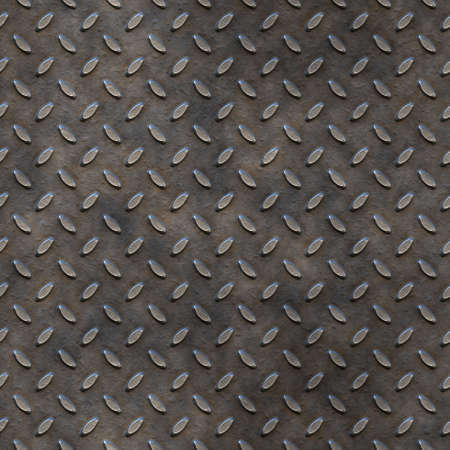 tread plate: a large image of worn and dirty tread plate  Stock Photo