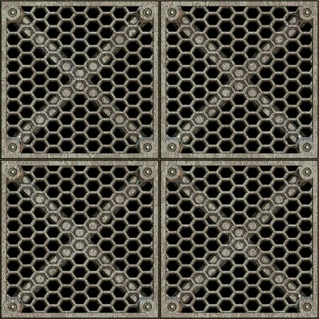 gridwork: a large image of a metal gridwork barrier Stock Photo