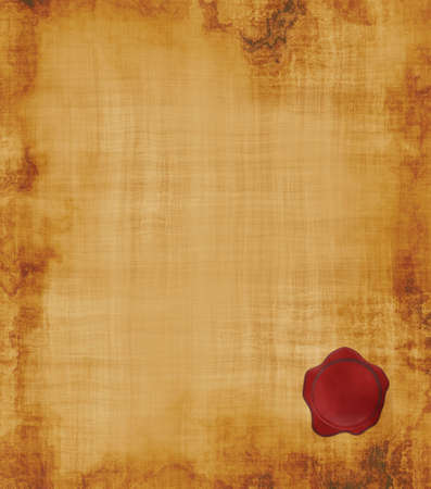 calico: a large image of old and worn parchment with wax seal Stock Photo