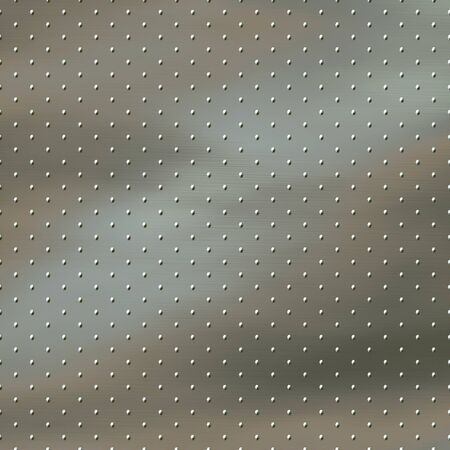 studs: a large image of brushed metal with studs or rivets Stock Photo