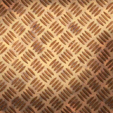 checkerplate: old worn brown or bronzed tread plate